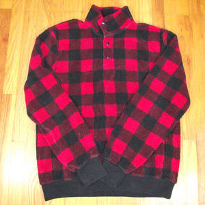 Men's J.CREW Red & Black Buffalo Plaid Fleece L
